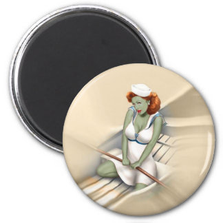Vintage Military Zombie Pinup Girl Magnet