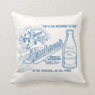 Vintage Milk Advertisement Throw Pillow