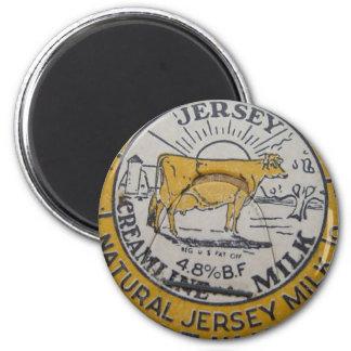 Vintage Milk Bottle Cap Cow Jersey Dairy 2 Inch Round Magnet