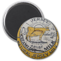 Vintage Milk Bottle Cap Cow Jersey Dairy Magnet
