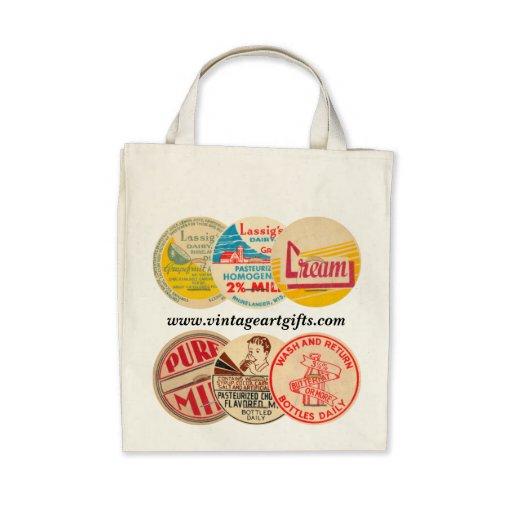 Vintage Milk Bottle Cap Organic Grocery Tote Tote Bags