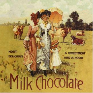 Vintage Milk Chocolate Cow Party Standing Photo Sculpture