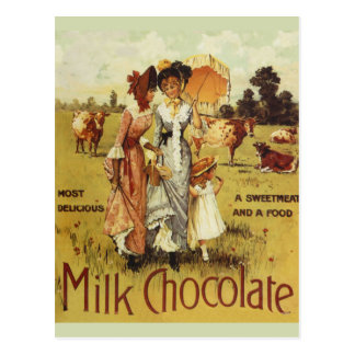 Vintage Milk Chocolate Cow Party Postcard