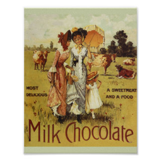 Vintage Milk Chocolate Cow Party Poster