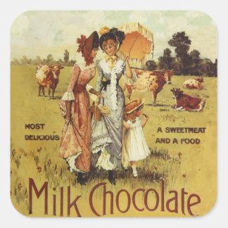 Vintage Milk Chocolate Cow Party Square Sticker