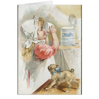 Vintage Milk Drinking girl Card
