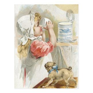Vintage Milk Drinking girl Postcard