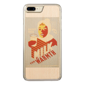 Vintage Milk for Warmth WPA Poster Carved iPhone 8 Plus/7 Plus Case