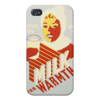Vintage Milk for Warmth WPA Poster Case For iPhone 4