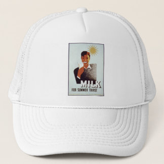 Vintage Milk Poster on Hat