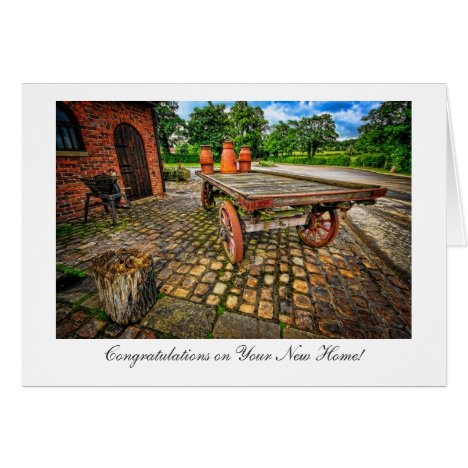 Vintage Milkchurn Wagon - New Home Congratulations Card
