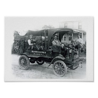 Vintage Millburn Electric Company Truck Poster