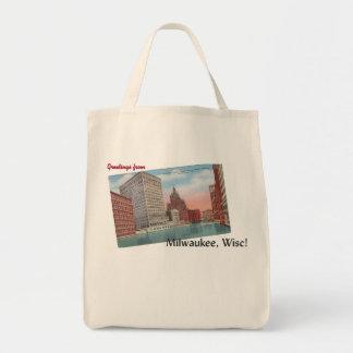 Vintage Milwaukee, Wisconsin Postcard Tote Bag