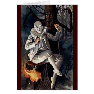 Vintage mime scary darl forest tree card