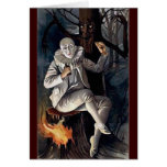 Vintage mime scary darl forest tree greeting cards