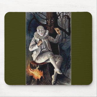 Vintage mime scary darl forest tree mouse pad