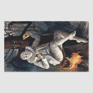 Vintage mime scary darl forest tree rectangular sticker