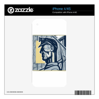 Vintage Miner Art Decal For The iPhone 4S