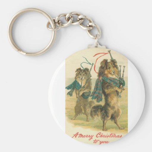 Vintage *Mini Collie* Merry Christmas! Basic Round Button Keychain