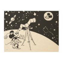 Vintage Minne & Mickey - Biggest of All Stars Wood Print