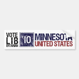Vintage Minnesota del libertario del voto en 2010  Etiqueta De Parachoque