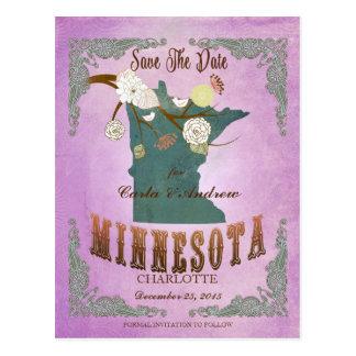 Vintage Minnesota State Map- Grape Purple Postcard
