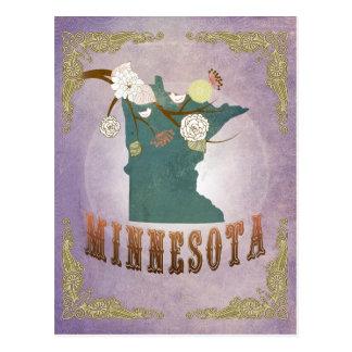 Vintage Minnesota State Map- Sweet Lavender Postcard