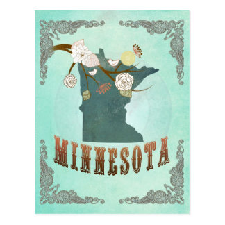 Vintage Minnesota State Map – Turquoise Blue Postcards