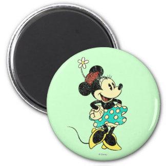 Vintage Minnie Mouse 1 Imán Redondo 5 Cm