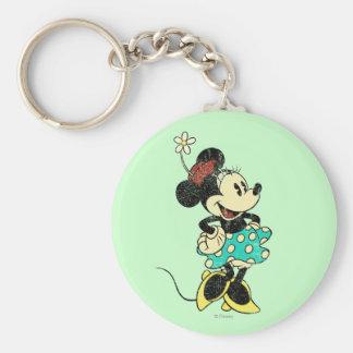 Vintage Minnie Mouse 1 Llavero Redondo Tipo Pin