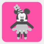 Vintage Minnie Mouse de Pook-a-Looz Pegatina Cuadrada
