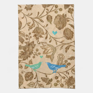 Vintage Mint and Aqua Love Birds Floral Pattern Kitchen Towel