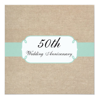 Vintage Mint and Beige Burlap Anniversary Party Card