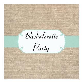 Vintage Mint and Beige Burlap Bachelorette Party Card