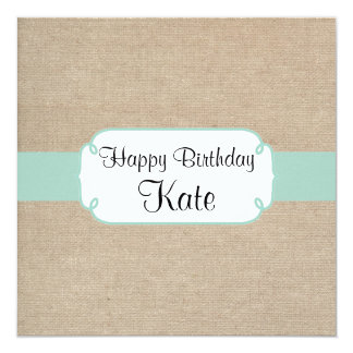 Vintage Mint and Beige Burlap Birthday Party Card