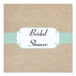 Vintage Mint and Beige Burlap Bridal Shower Card