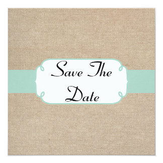 Vintage Mint and Beige Burlap Save The Date Notice Card