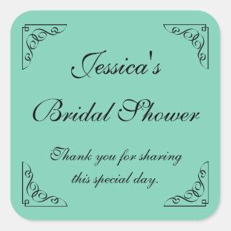 Vintage mint bridal shower party favor stickers