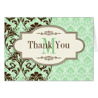 Vintage Mint, Brown Scrolls Thank You Card