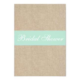 Vintage Mint Burlap Bridal Shower Invitation