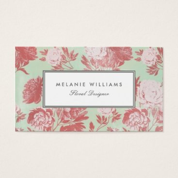 Professional Business Vintage Mint Coral Peonies Floral Business Cards