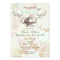 vintage mint floral Bridal Tea Party Invites