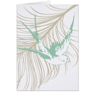 Vintage Mint Green Bird and Feather Card