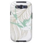 Vintage Mint Green Bird and Feather Galaxy S3 Cover