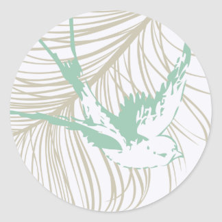 Vintage Mint Green Bird and Feather Stickers