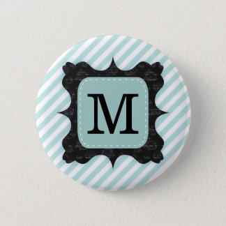 Vintage Mint Green Stripes Pattern Black Monogram Pinback Button