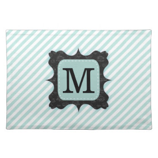 Vintage Mint Green Stripes Pattern Black Monogram Cloth Placemat