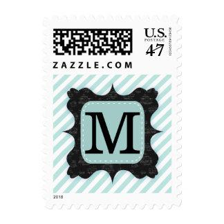 Vintage Mint Green Stripes Pattern Black Monogram Stamp