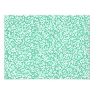 Vintage Mint Green White Antique Floral Pattern Photographic Print