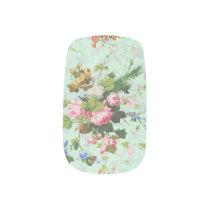 Vintage mint shabby floral chic rose flower patter minx nail wraps